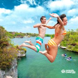 xel-ha-coba-parque-cancun-casal-salta-de-pedra-e-cai-no-rio
