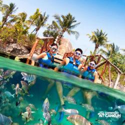 xel-ha-tulum-parque-cancun-grupo-faz-snorkeling-mergulho-com-peixes