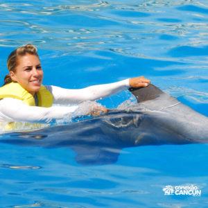 Mulher fazendo a madalidade Dolphin Swim Ride