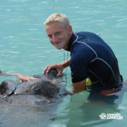 encontro-com-peixe-boi-dolphin-discovery-cozumel-cancun-isla-mujeres-menino-alimenta-peixe-boi