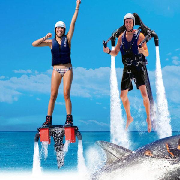 casal realizando o Jet Pack Water
